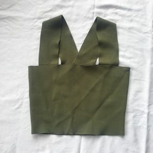 Seek the label bandage olive green crop top